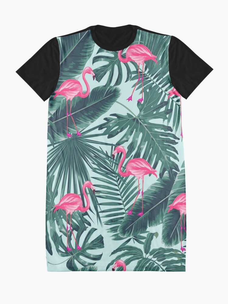 Alternate view of tropic abstract flamingo Graphic T-Shirt Dress