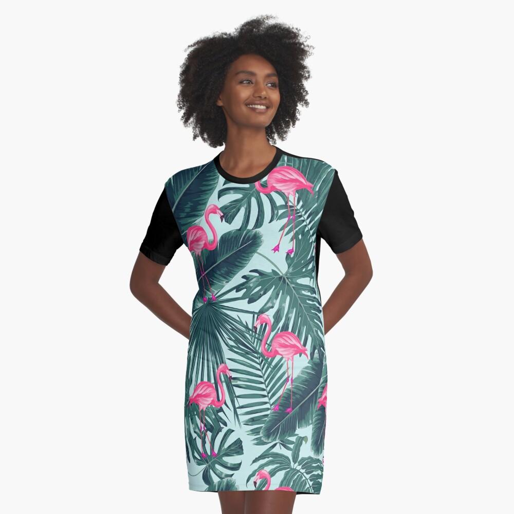 tropic abstract flamingo Graphic T-Shirt Dress