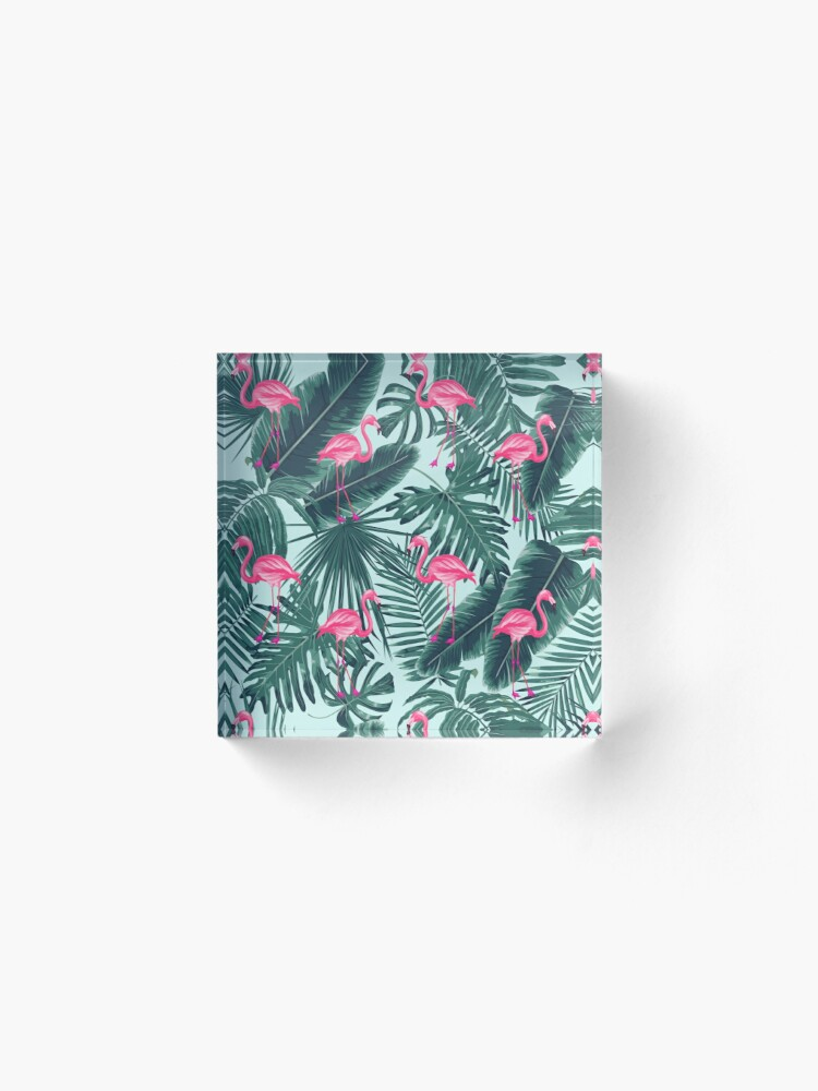 Alternate view of tropic abstract flamingo Acrylic Block
