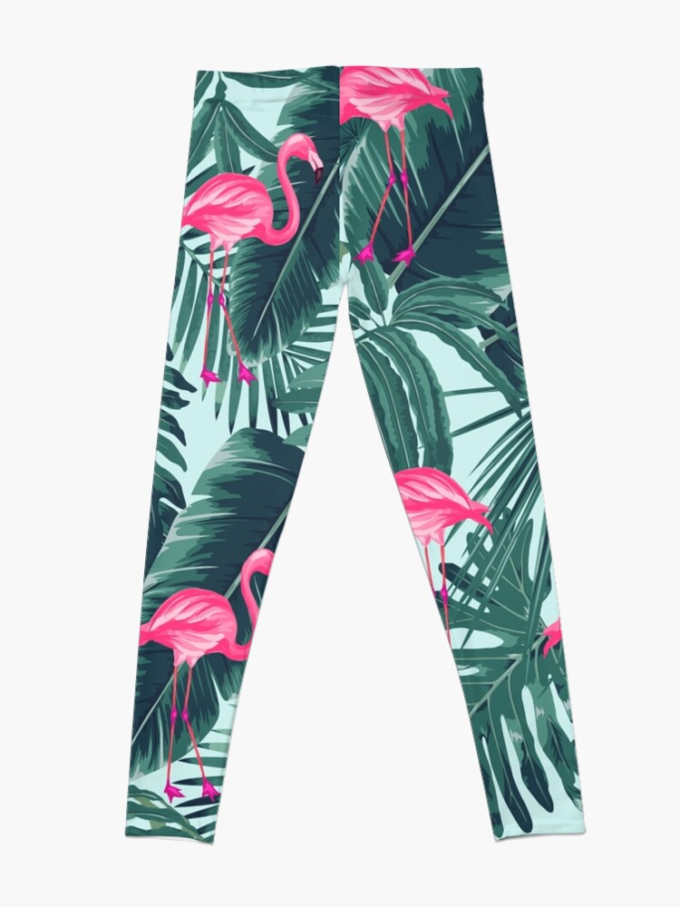 Alternate view of tropic abstract flamingo Leggings