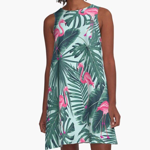 tropic abstract flamingo A-Line Dress