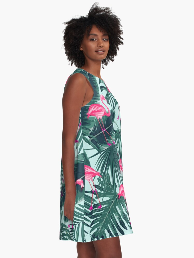 Alternate view of tropic abstract flamingo A-Line Dress