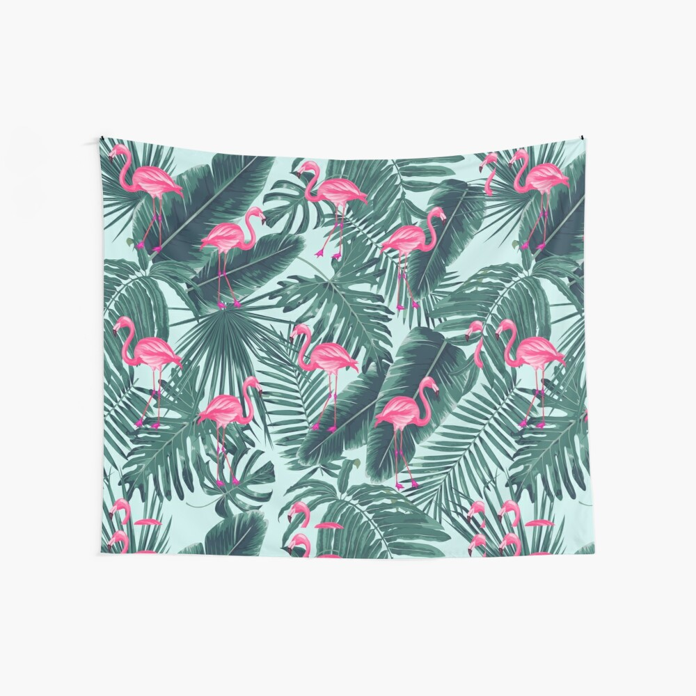 tropic abstract flamingo Wall Tapestry