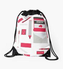 Red Art Supply Print Drawstring Bag