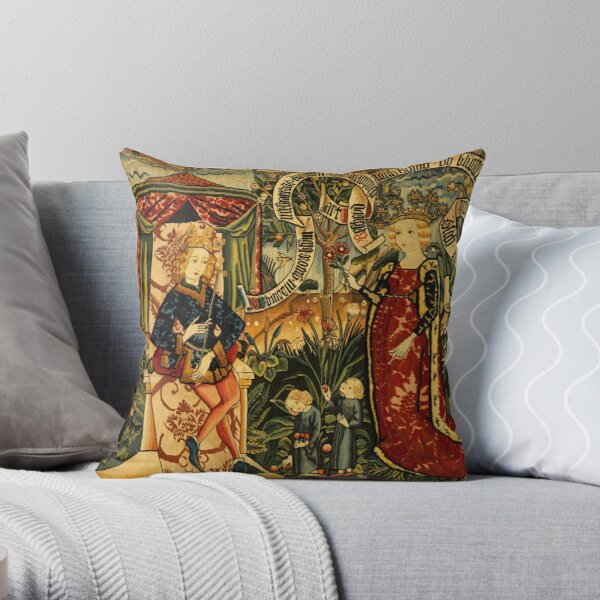 Two Riddles of the Queen of Sheba, Medieval Tapestry Throw Pillow