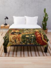 Two Riddles of the Queen of Sheba, Medieval Tapestry Throw Blanket