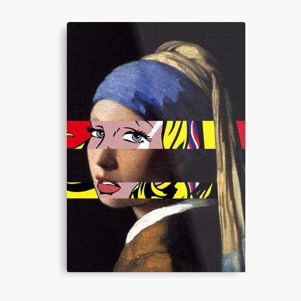 Vermeer's Girl with a Pearl Earring meets Lichtenstein's Girl with hair ribbon Metal Print
