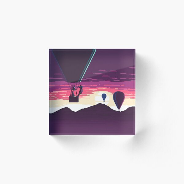 Balloon Rider at Sunset Acrylic Block