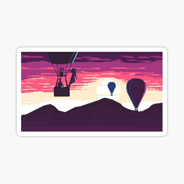 Balloon Rider at Sunset Sticker