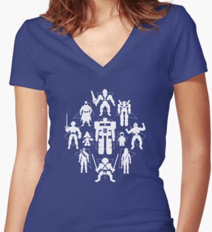 Plastic Heroes (w/Triangles) Women's Fitted V-Neck T-Shirt