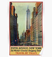New York Vintage Travel Poster Restored Poster