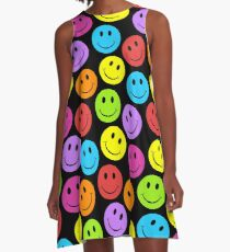 Happy Colorful Smiley Faces Pattern A-Line Dress