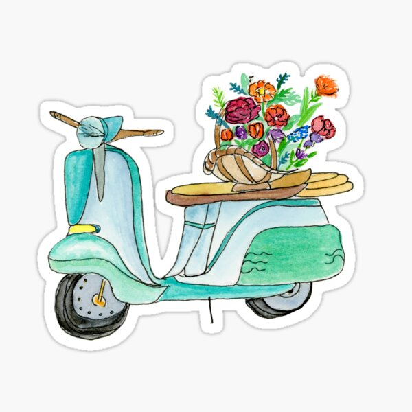 Watercolor Vespa Scooter With Basket Of Flowers Sticker