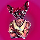 Sphynx Tattoed Cat Pink by fakeface