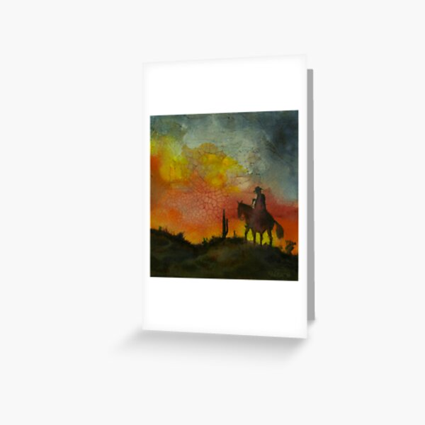 Riding Into the Sunset Greeting Card