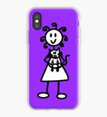 The Girl with the Curly Hair Holding Cat - Light Purple iPhone Case
