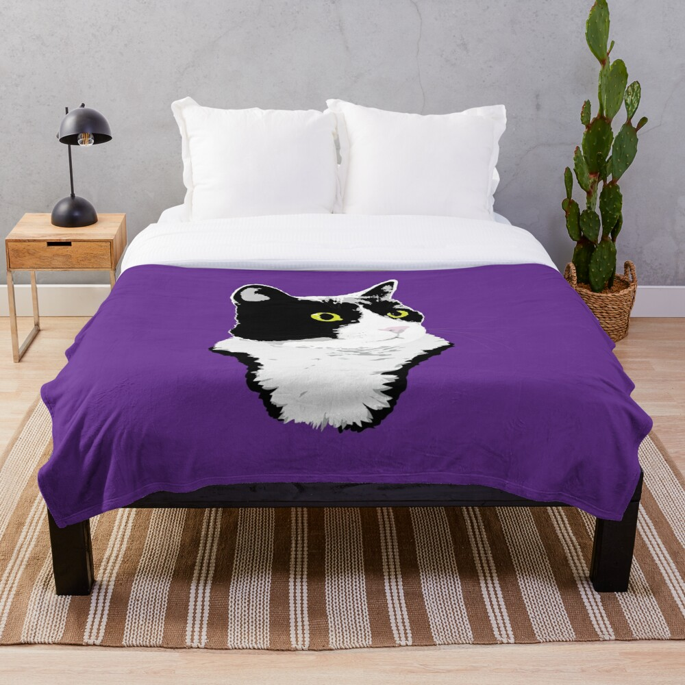 Regal Tuxedo Kitty Throw Blanket