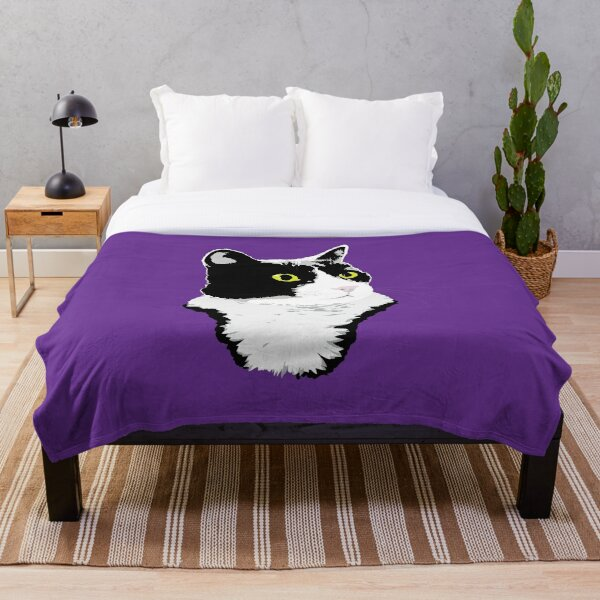 Regal Tuxedo Kitty Throw Blanket