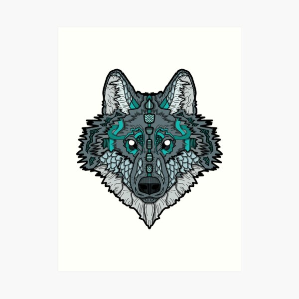 Norse Wolf Color Art Print