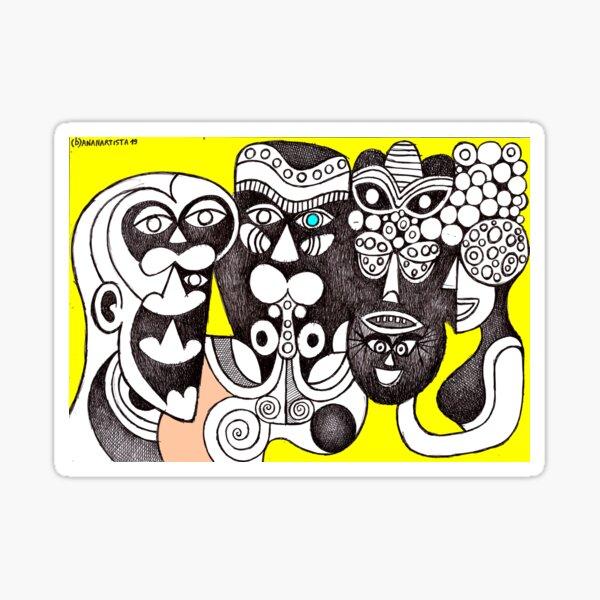 Bakongo Ritual Masks (african tribal art) Sticker