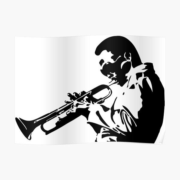Miles Davis III Playing his Trumpet Artwork for Tshirts, Posters, Prints, Men, Women, Kids Poster