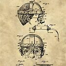 Antique Welders Goggles blueprint drawing, 1938 industrial by Glimmersmith
