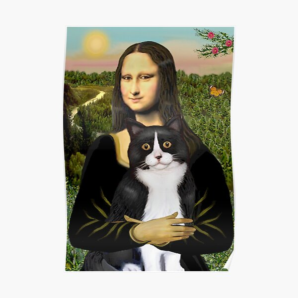Mona Lisa and her Black and White Tuxedo Cat Poster