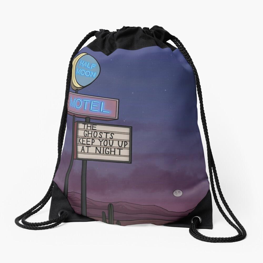 Ghost Motel Drawstring Bag