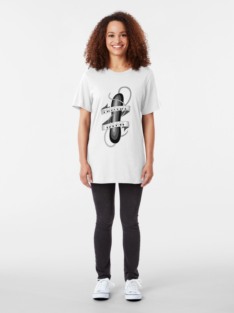 Alternate view of Microbial Badass Tattoo - black and white Slim Fit T-Shirt