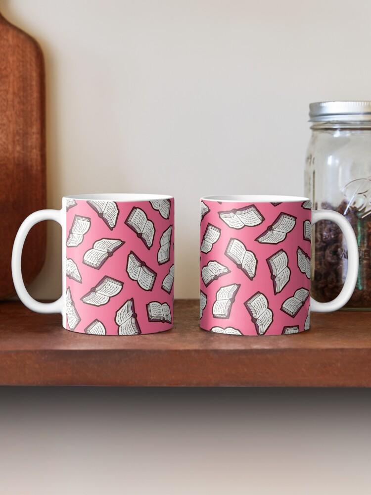 Alternate view of Bookish Reading Pattern in Pink Mug