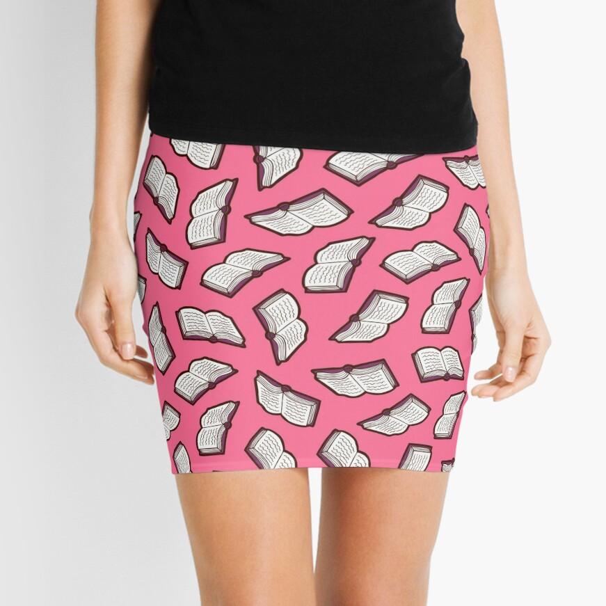 Bookish Reading Pattern in Pink Mini Skirt