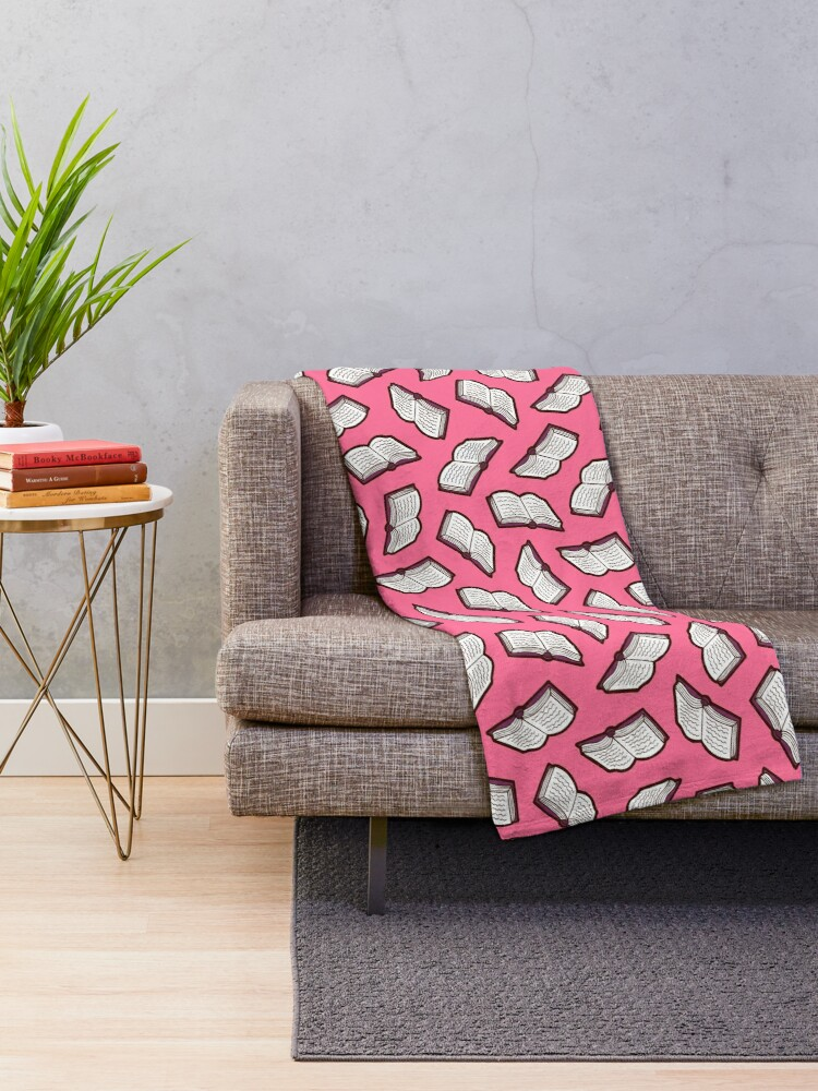 Alternate view of Bookish Reading Pattern in Pink Throw Blanket