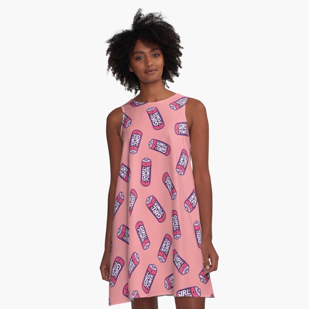 Girl Power Pattern in Pink A-Line Dress