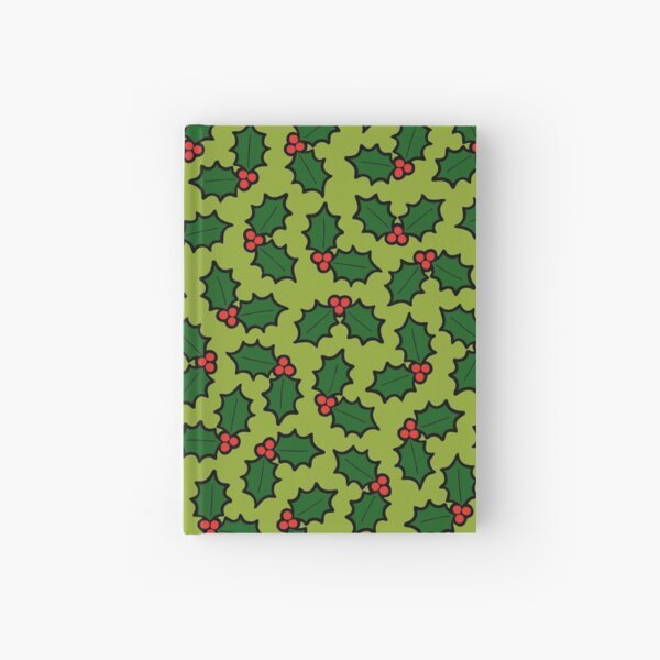 Holly Leaves and Berries Pattern in Light Green Hardcover Journal