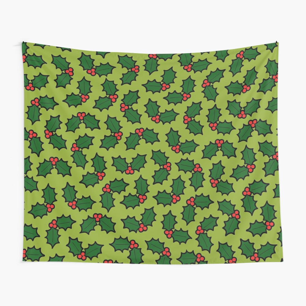 Holly Leaves and Berries Pattern in Light Green Wall Tapestry