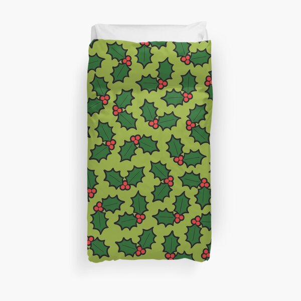 Holly Leaves and Berries Pattern in Light Green Duvet Cover