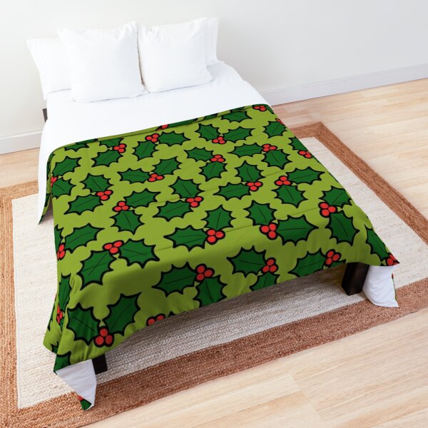 Holly Leaves and Berries Pattern in Light Green Comforter