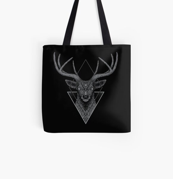 Stags Head Design Canvas Tote Ladies Hand Bag