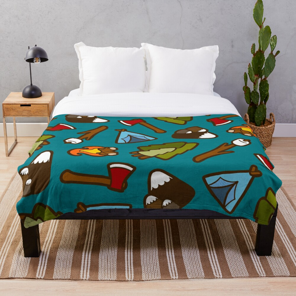 Camping is Cool Pattern Throw Blanket