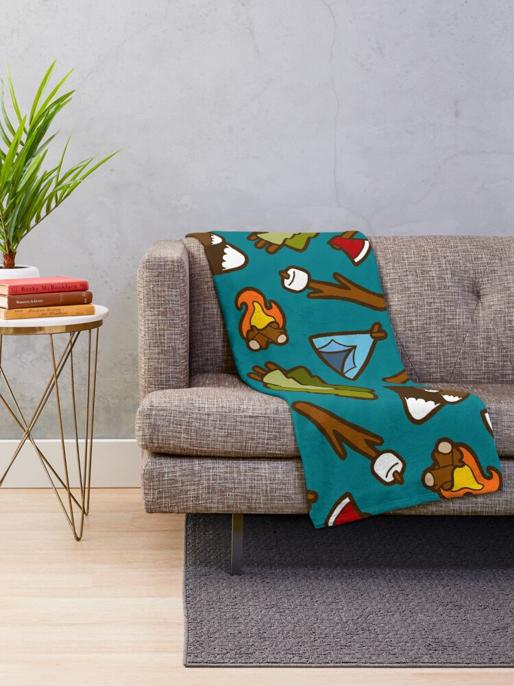 Alternate view of Camping is Cool Pattern Throw Blanket