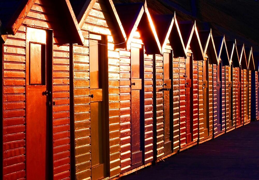 Sunset Beach Huts by charlylou
