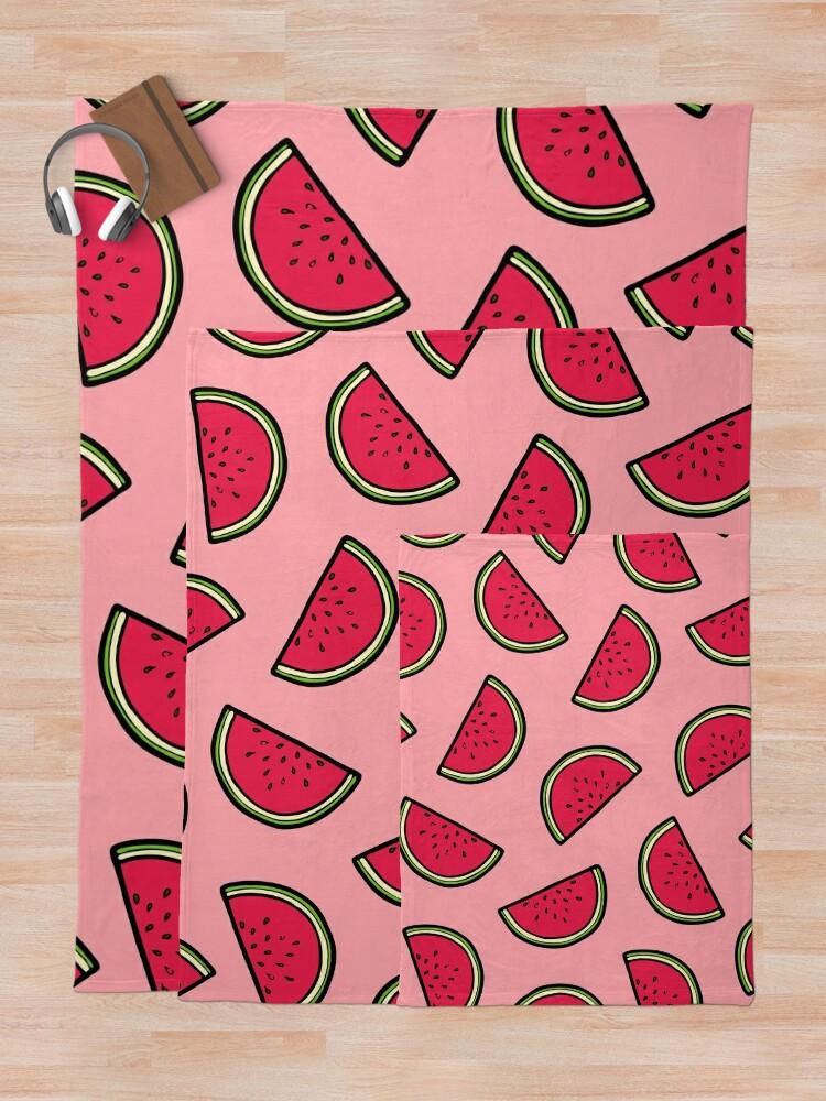 Alternate view of Watermelon Pattern in Pink Throw Blanket
