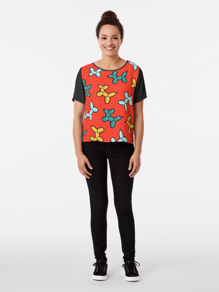 Alternate view of Balloon Animal Dogs Pattern in Red Chiffon Top