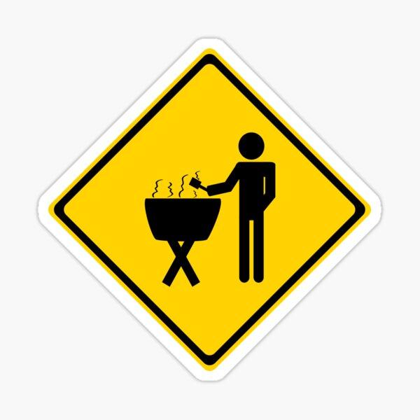 Grill master road sign. Sticker