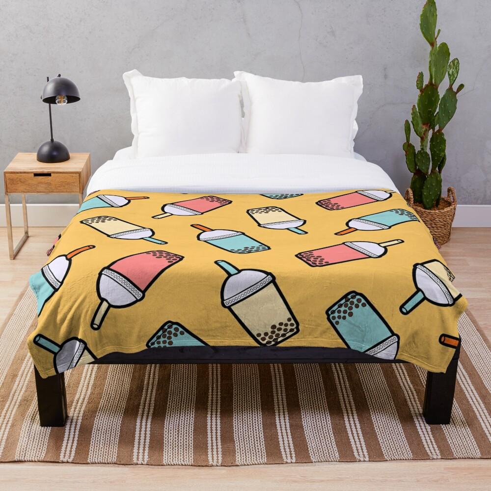 Bubble Tea Pattern Throw Blanket
