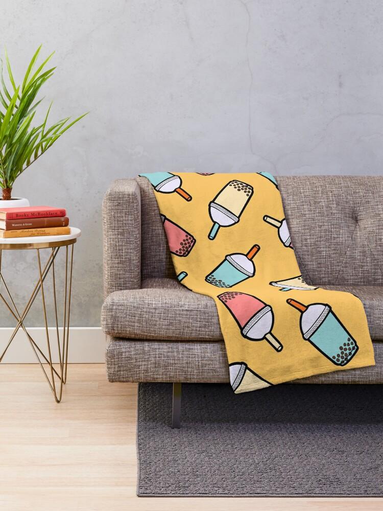 Alternate view of Bubble Tea Pattern Throw Blanket