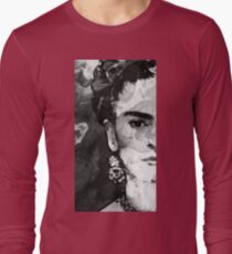 Black And White Frida Kahlo by Sharon Cummings Long Sleeve T-Shirt