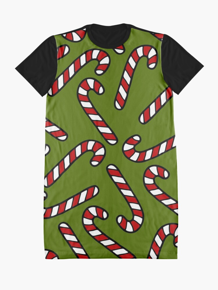 Alternate view of Candy Cane Pattern Graphic T-Shirt Dress