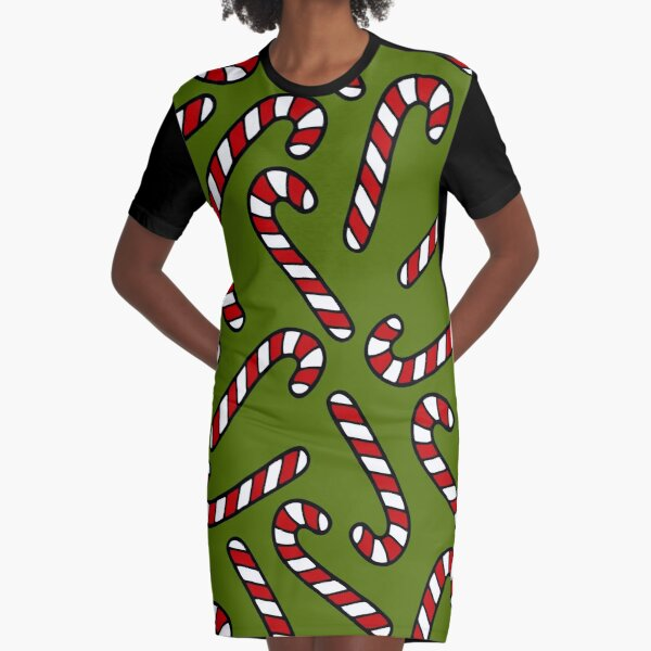 Candy Cane Pattern Graphic T-Shirt Dress