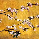 Asian Cherry Blossoms Oil Painting by Fred Seghetti